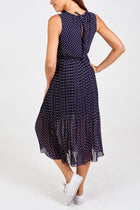 'Dulcie' Navy Chiffon Pleated Polka Dot Midi Dress