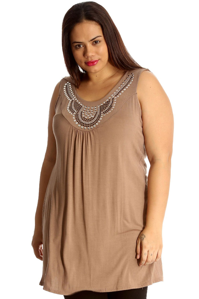 'Evie' Curve Mocha Studded Neck Detail Tunic