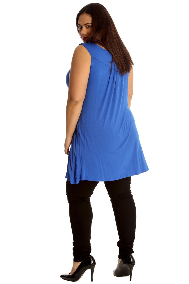 'Evie' Royal Blue Studded Neck Detail Tunic