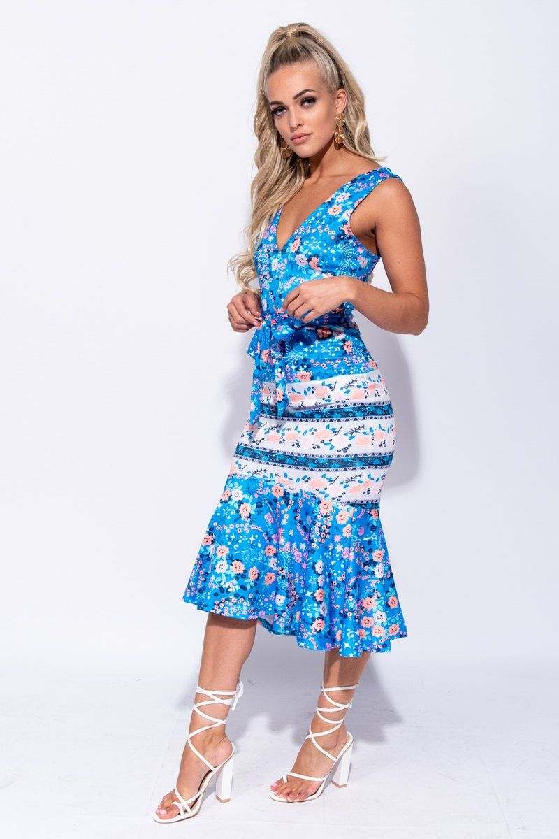 'Francesca' Blue Floral Plunge Fishtail Hem Midi Dress