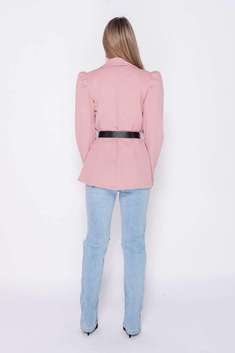 'Georgia' Blush Pink Puffed Sleeve Blazer With Buckle Belt