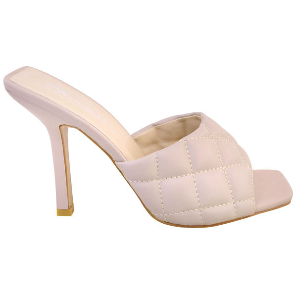 'Gigi' Nude Quilted Square Toe Stiletto Mules