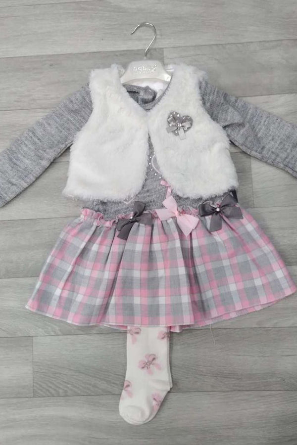 Girls Elegant 3pc Heart Dress, Cream Faux Fur Gilet & Bow Tights