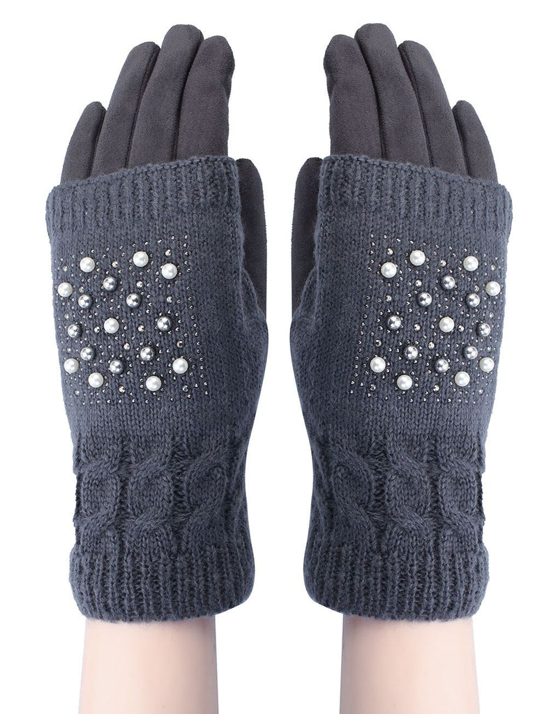 'Grey' Pearl Knitted Covered Suede Gloves