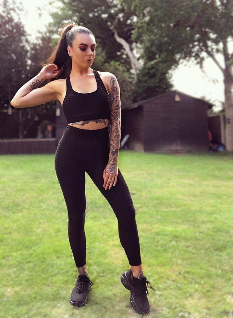 'Gym Bunny' Sculpting Textured Top & Ruched Push Up Trouser Co-Ord Set