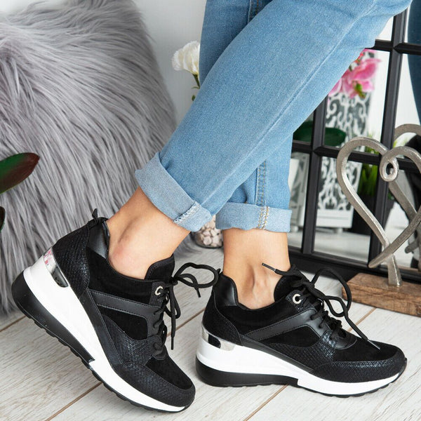 'Hallie' Black & Silver Detail Wedged Fashion Trainers