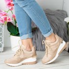 'Hallie' Nude & Gold Detail Wedged Fashion Trainers