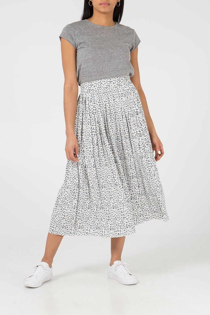 'Harley' Leopard Print Pleated Midi Skirt