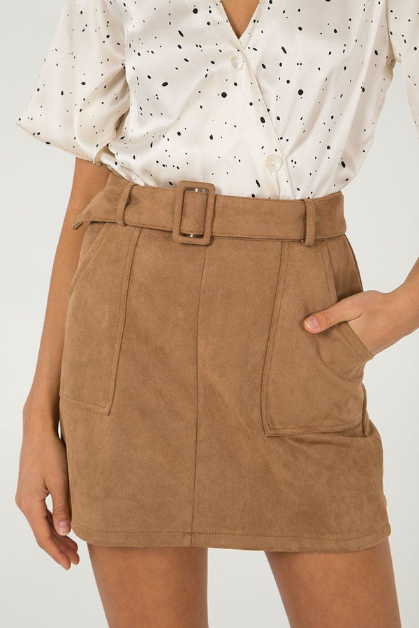 'Hetty' Faux Suede Belted Tan Mini Skirt