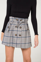 'Jessica' Tie Waist Button Detail Check Skirt