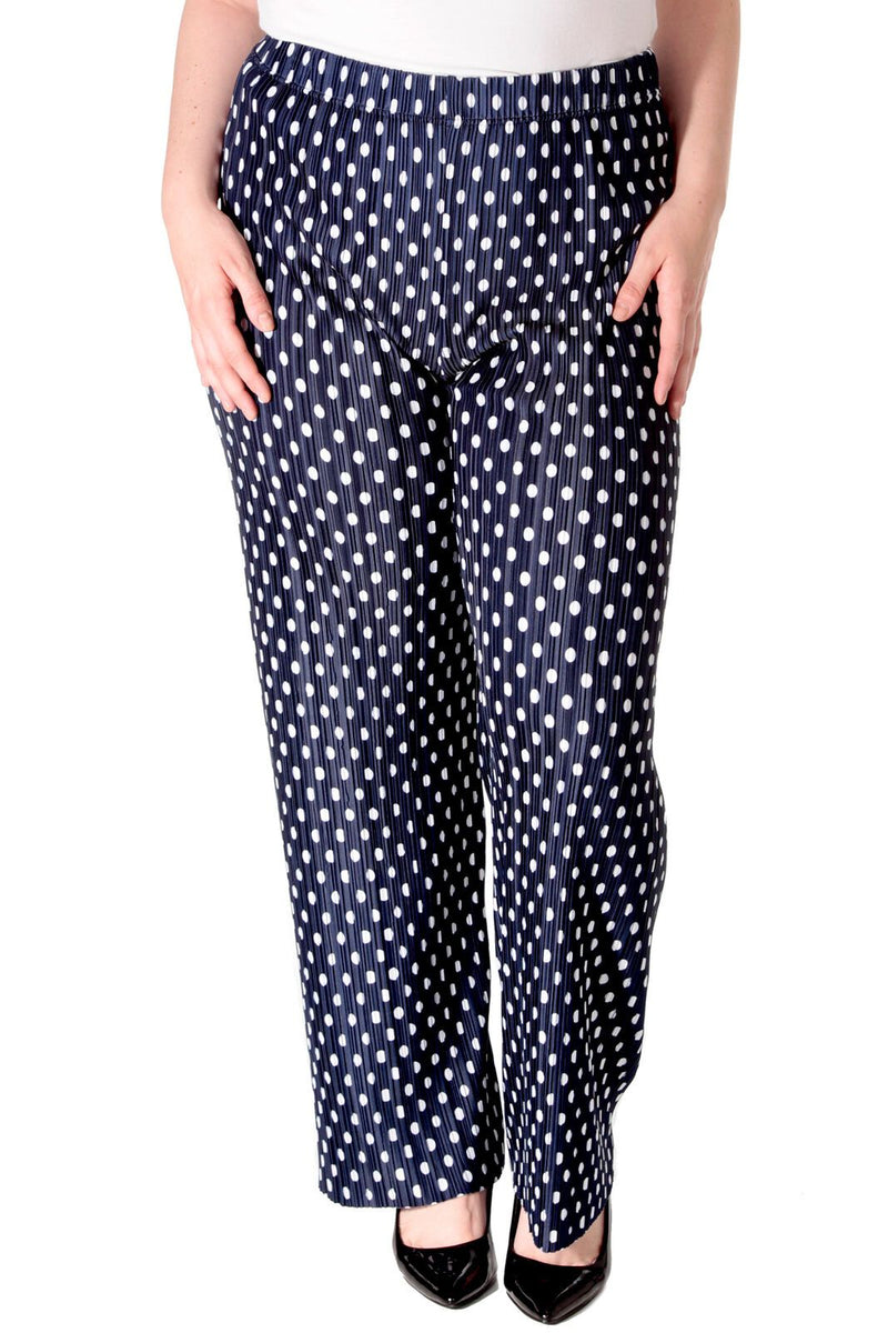 'Julia' Curve Navy Pleated Polka Dot Trousers