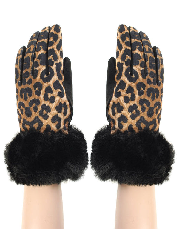 Leopard Print Faux Fur Trim Glove