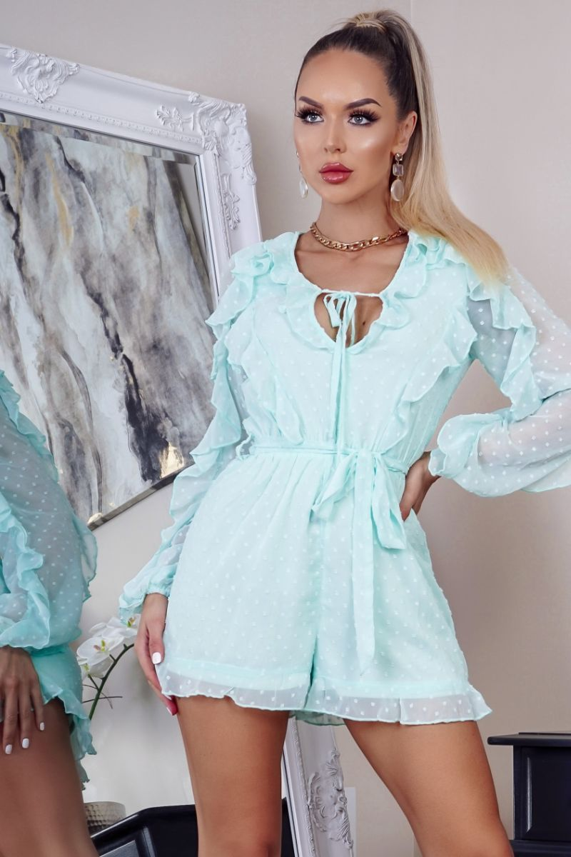'Lexie' Mint Frill Trim Self Belt Playsuit