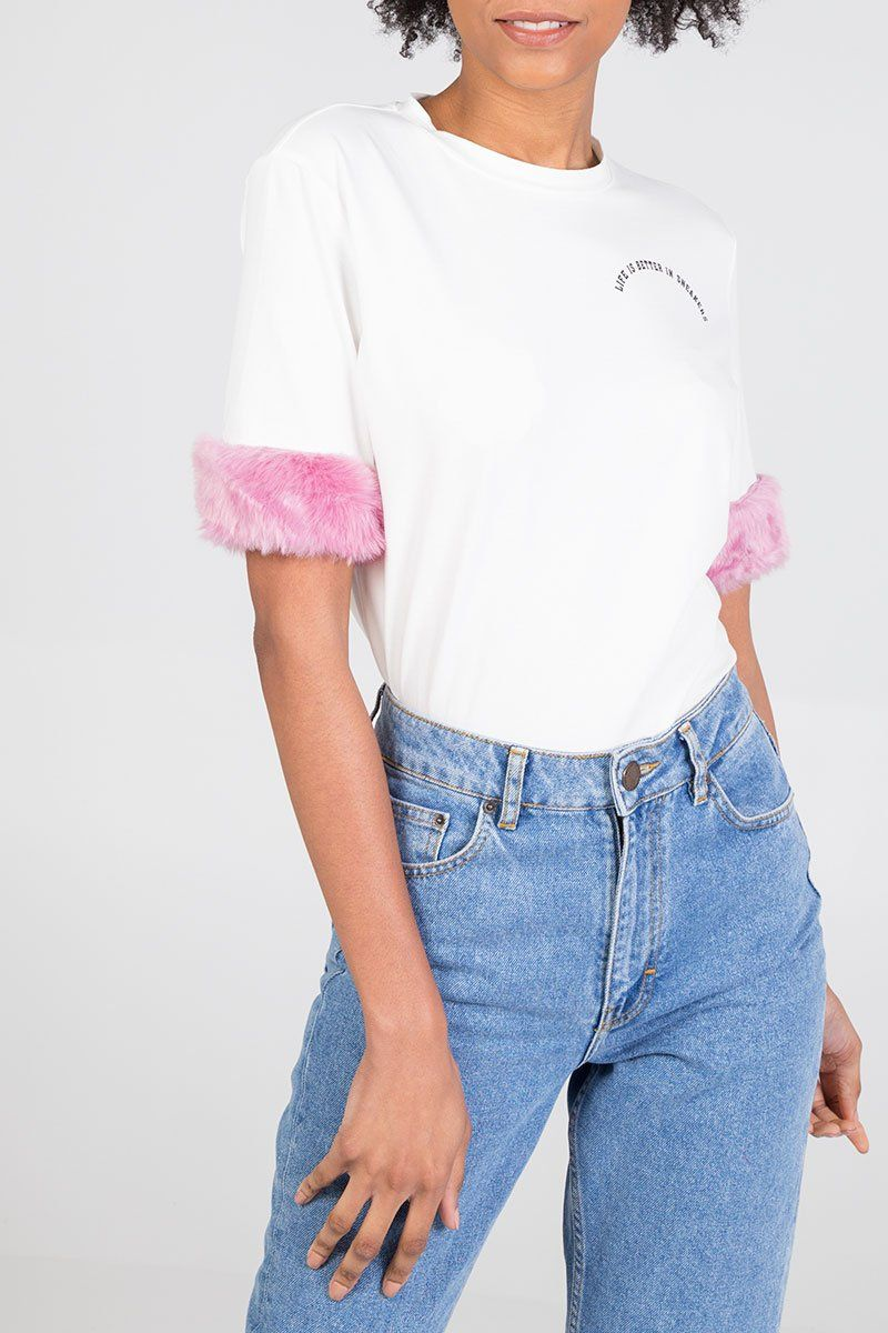 'LIFE IS BETTER IN SNEAKERS' Pink Fluffy Trim Sleeve T-Shirt
