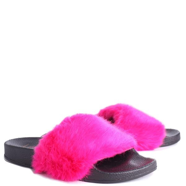 'Lola' Fuchsia Pink Faux Fur Sliders