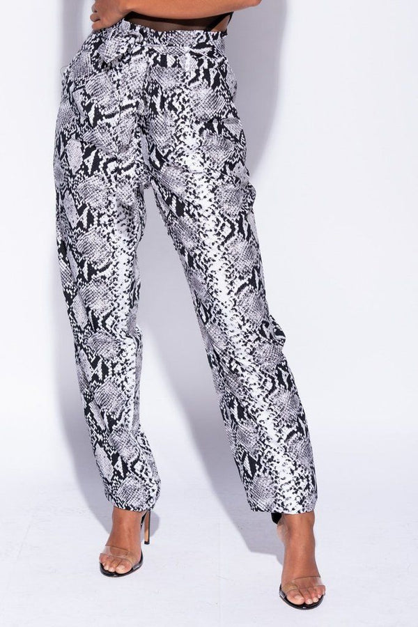 'Lola' Snake Print High Waisted Tie Up Trousers