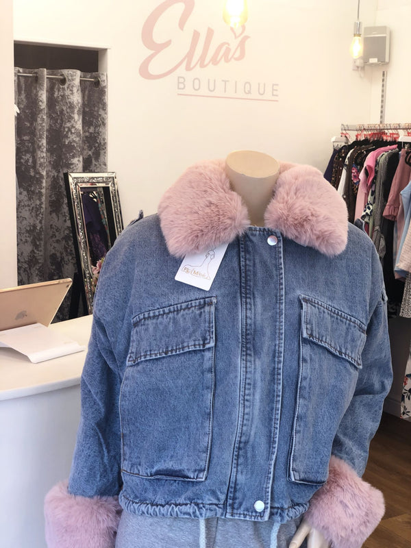 'Lula' Pink Faux Fur Lined Denim Jacket