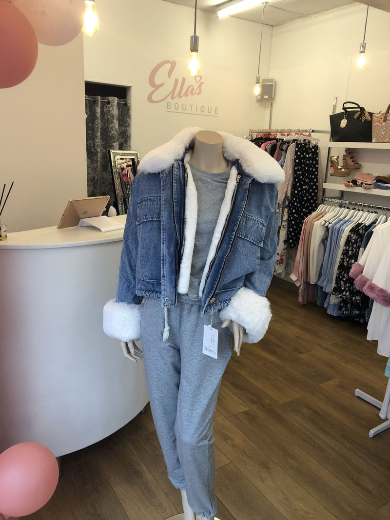 'Lula' White Faux Fur Lined Denim Jacket