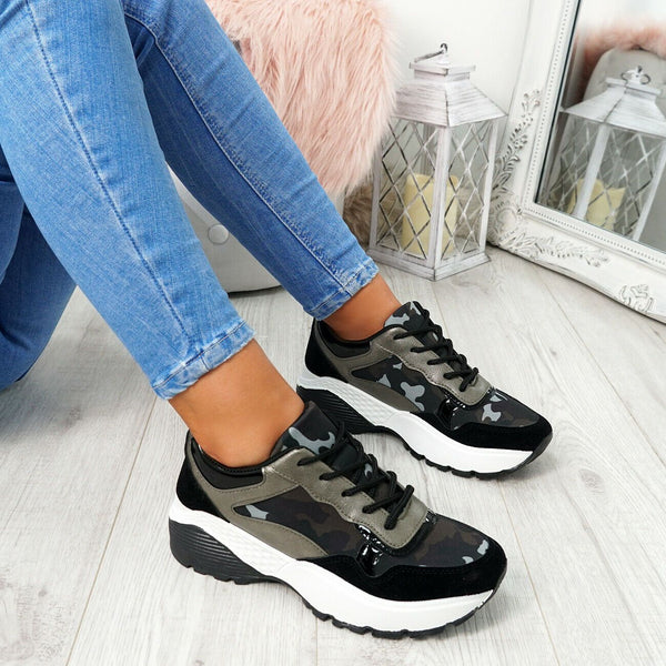 Mia' Khaki/Black Camo Chunky Platform Fashion Trainers
