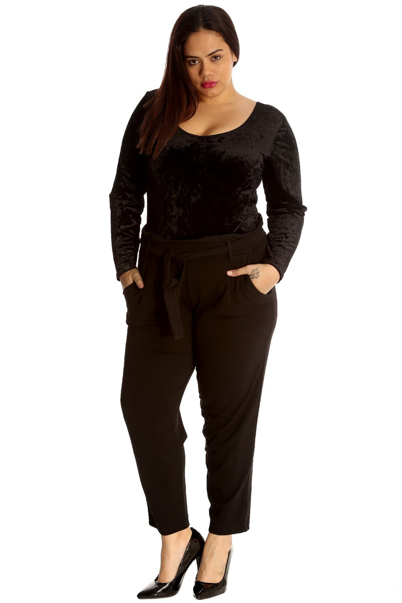 'Millie'' Plus Size Black High Waisted Cigarette Trousers
