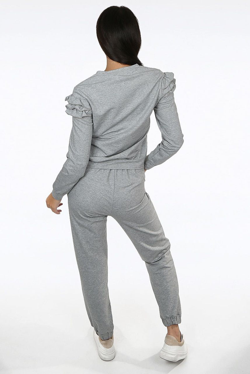 'Molly' Gold Button Trim Grey Loungewear Co-Ord Set