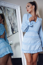 'Nancy' Blue Tiered Cut Out Back Dress