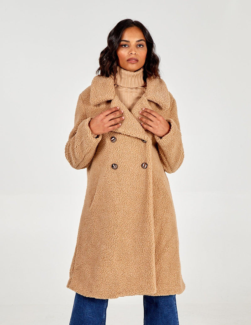 'October' Camel Double Breasted Teddy Coat
