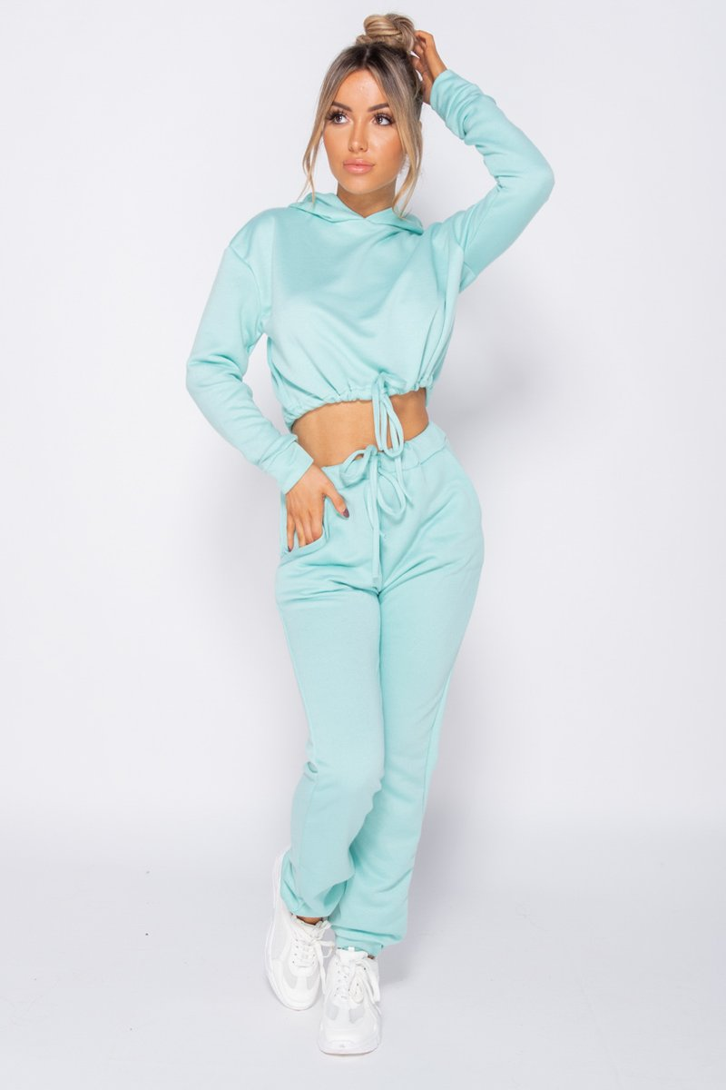 'Patsy' Mint Drawstring Cropped Hoodie & Jogging Trousers Loungewear Set