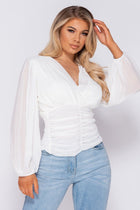 'Penny' White Shirring Detail Wrap Front Top
