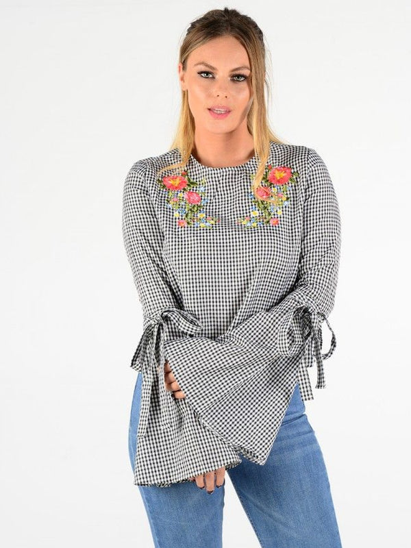 'Phoebe' Gingham Floral Embroidered Bell Sleeve Top