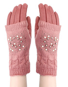 'Pink' Pearl Knitted Covered Suede Gloves