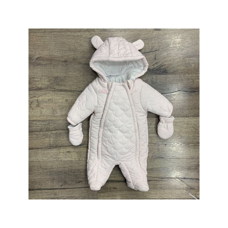 Baby Pink Scallop Quilted Pramsuit with Bunny Ears & Mittens
