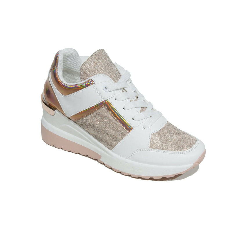 'Dolly' Rose Gold Metallic Glitter Wedged Fashion Trainers