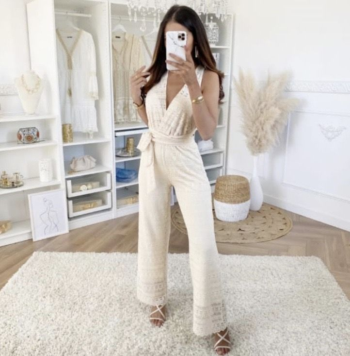 'Scarlet' Cream Lace Stretchy Tie Jumpsuit