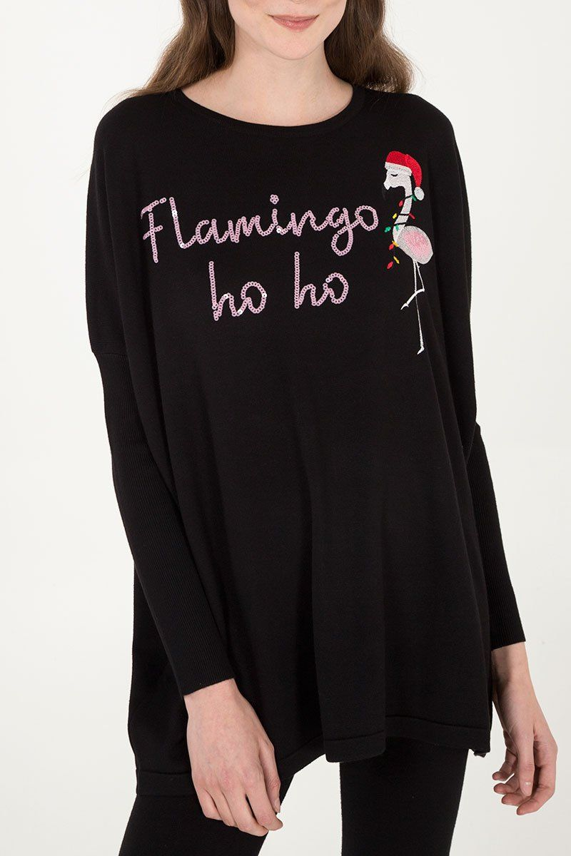 Sequin Flamingo Oversized Christmas Jumper