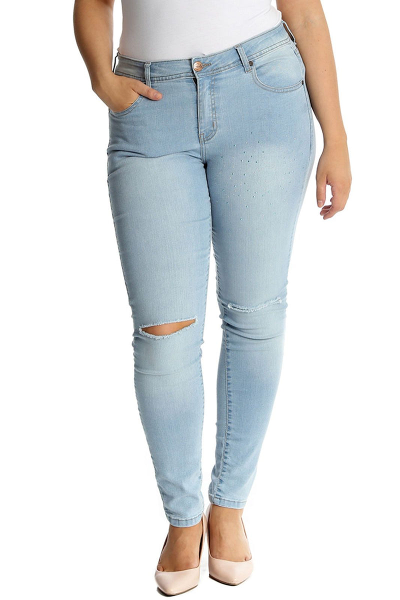'Shelley' Curve Ripped Knee Stretchy Denim Skinny Jeans