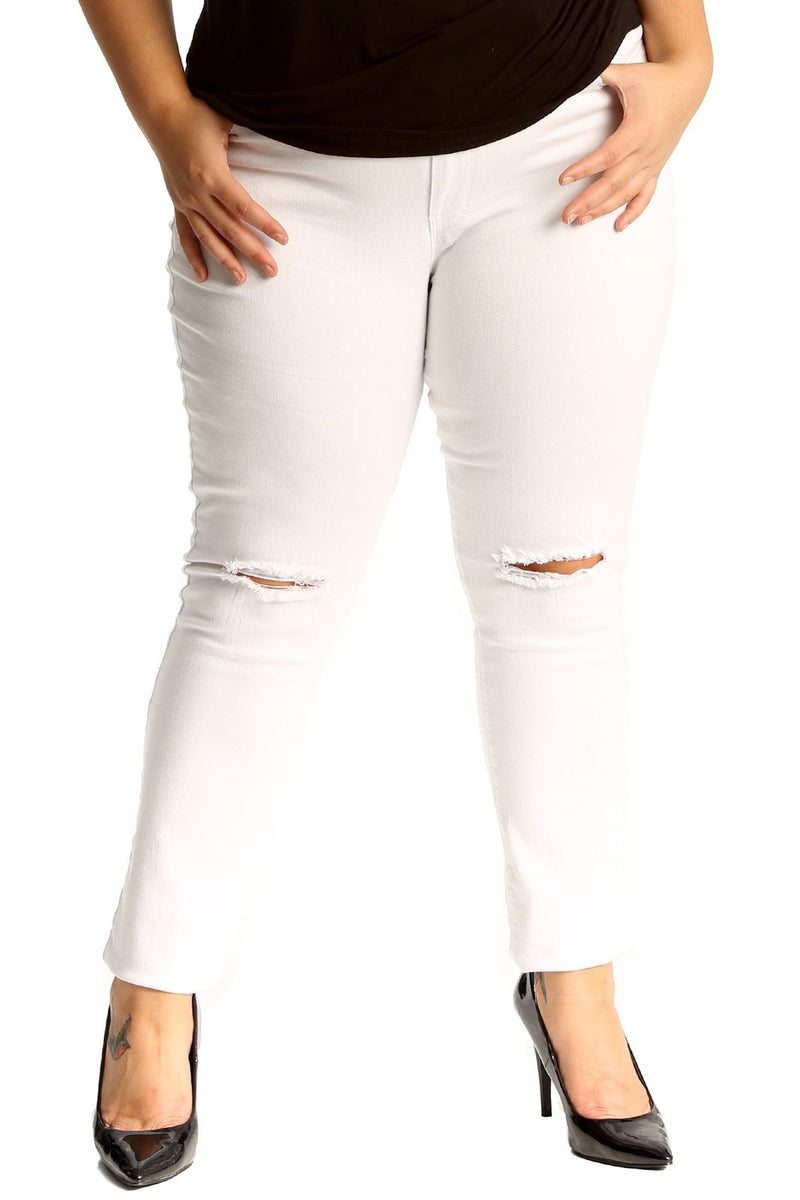 'Shelley' Curve Ripped Knee Stretchy White Skinny Jeans