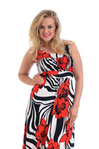 'Shola'  Curve Bold Red Floral Print Maxi Dress