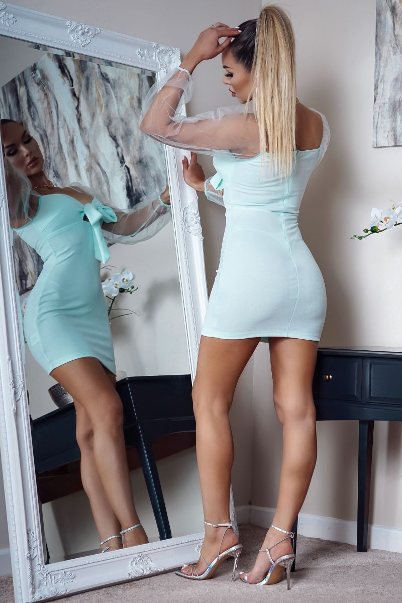 'Sophia' Mint Sheer Sleeve Bodycon Mini Dress