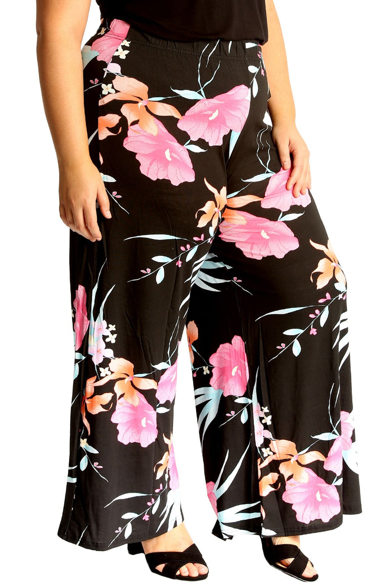'Sophie' Bold Floral Print Palazzo Trousers