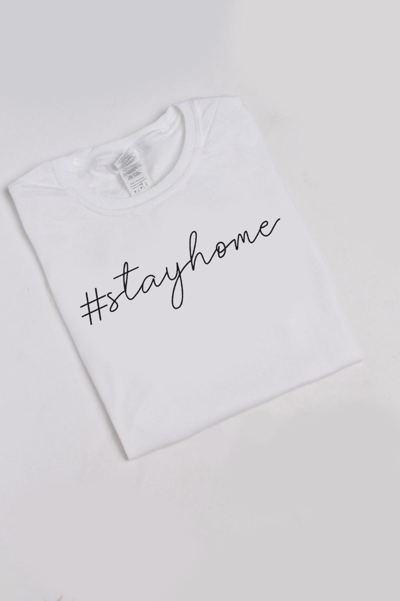 Stay Home Slogan White Slim Fit T-Shirt