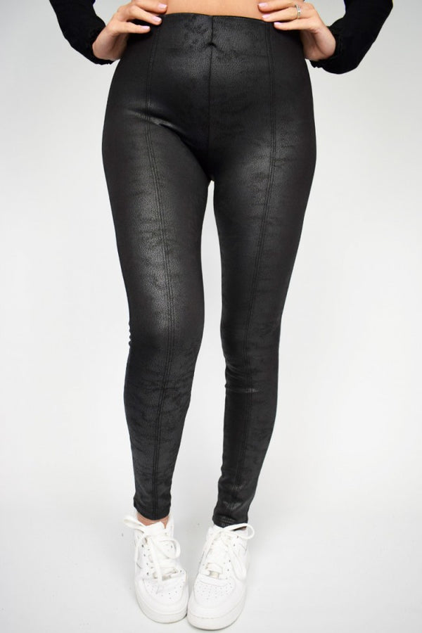 'Alexa' Distressed Leather Look Jeggings