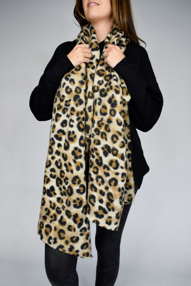 Animal Print Mixed Wool Large Scarf