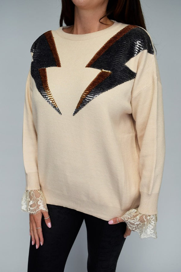 'Harley' Lace Cuff Sequin Lightning Jumper