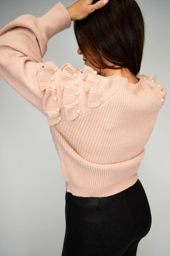 'Gaby' Pearl Frill Shoulder Knitted Jumper