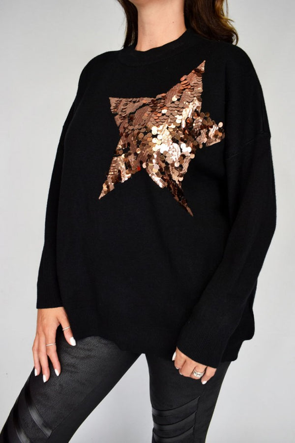 'Abbie' Sequin Disc Star Jumper