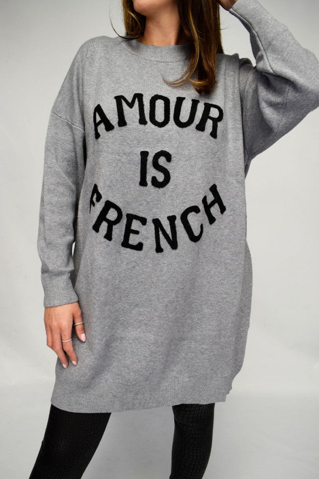 'Amour is French' Textured Slogan Longline Jumper