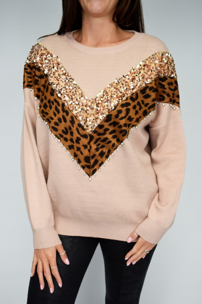 'Teoni' Sequin/Animal Print V-Front Soft Knit Jumper