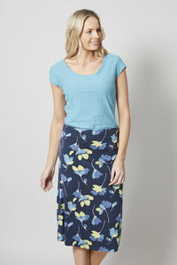 Lily & Me | Beach Midi Skirt Falling Flower | Dark Grey / Lemon