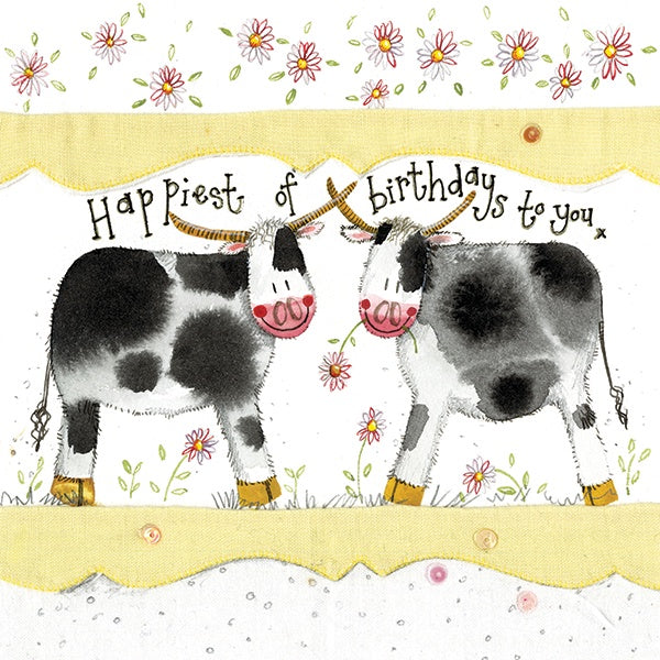 Cows Large Sparkle Birthday Card